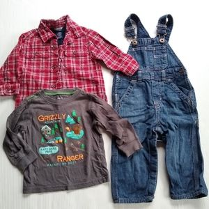 Baby boy 18 month winter lot overalls flannel
